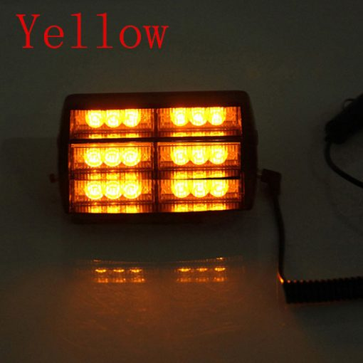 18 LED Flash Strobe Car Light - Yellow