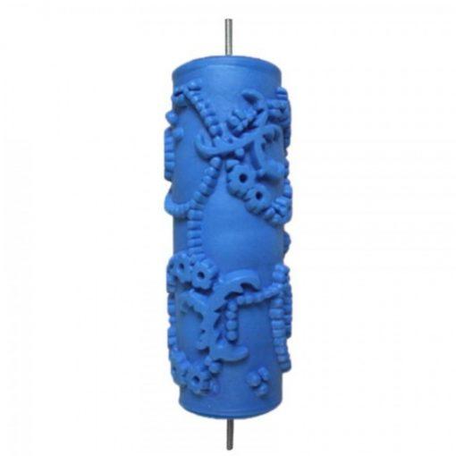 15CM PATTERNED PAINT ROLLER FLOWER LEAVES 070Y - BLUE