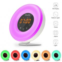 Mood Light Sunrise Simulator Alarm Clock With FM Radio - White