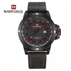 Naviforce 9077 Dial Analog Watch for Men - Black/Red/Black