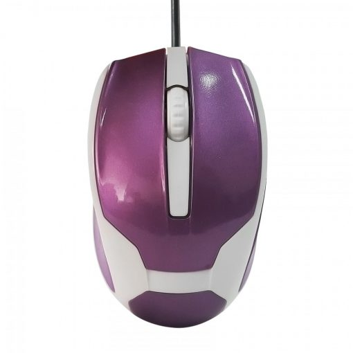 1200 DPI Wired USB 3D Wheel Optical Mouse - Purple/White