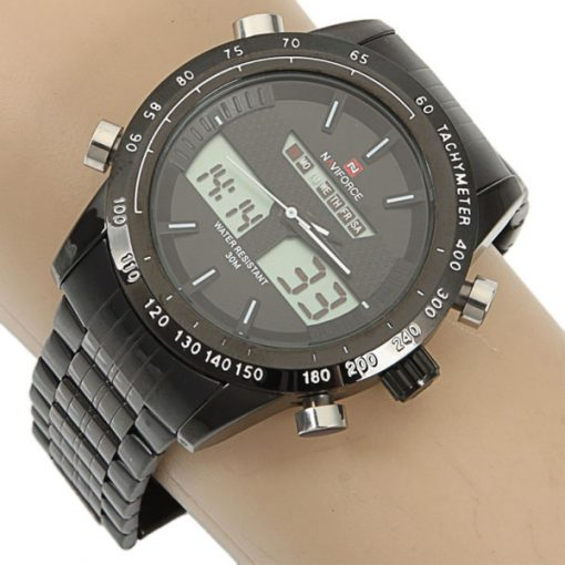 Naviforce NF9024 30M Waterproof Dual Mode Steel Watch With Naviforce Gift Box - Black/Black/White