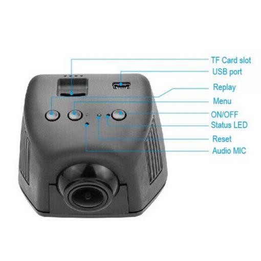 Dual Wifi Camera Car CCTV Dashcam With AV Out - Black
