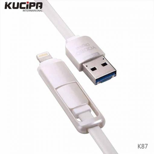 2 in 1 K87 Multifunction Charging Cable with OTG  - White