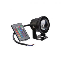 10 Watt 12V Memory Function RGB Multi-Color Waterproof Submersible  LED Underwater Light Bulb - Black