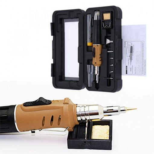 10 In 1 Multifunction Self Ignition Soldering Iron with Gas Torch Kit - Gold
