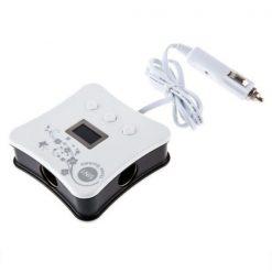 4 USB 3 12v Car Socket Power Supply With LCD - Black