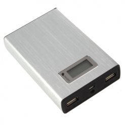 12000 mah Power Bank With 2 USB Port and LED Flash Light - Silver