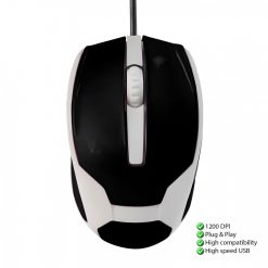 1200 DPI Wired USB 3D Wheel Optical Mouse - Black/White