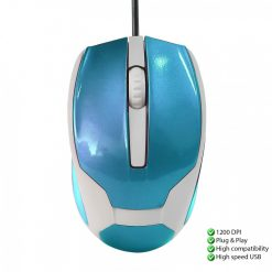 1200 DPI Wired USB 3D Wheel Optical Mouse - Blue/White