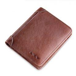 Dide 6 Card Slots Leather Slim Wallet - Dark Brown
