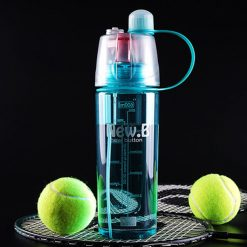 600ml Sport Water Bottle with Moisturizing Spray  - Blue