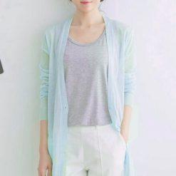 Cardigans Thin Knitted V-Neck Long Sleeve  - Light Blue