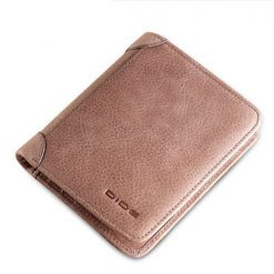Dide 6 Card Slots Leather Slim Wallet - Light Brown