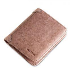 Dide 6 Card Slots Leather Slim Wallet - Light Brown