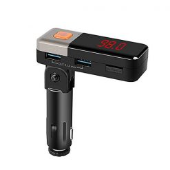 Bendable Bluetooth Car FM With Two 2.1a USB Port And MP3 SD Card Slot - Black