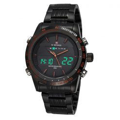 Naviforce NF9024 30M Waterproof Dual Mode Steel Watch With Naviforce Gift Box - Black/Black/Orange