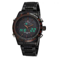 Naviforce NF9024 30M Waterproof Dual Mode Steel Watch With Naviforce Gift Box - Black/Black/Orange