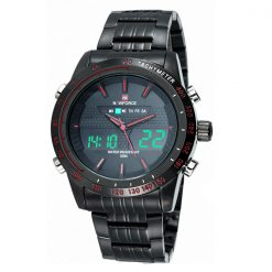 Naviforce NF9024 30M Waterproof Dual Mode Steel Watch With Naviforce Gift Box - Black/Black/Red