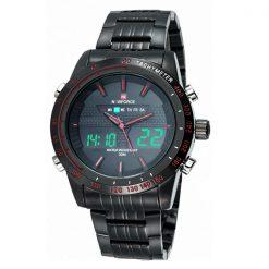Naviforce NF9024 30M Waterproof Dual Mode Steel Watch With Naviforce Gift Box - Black/Black/Red