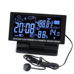 12V Digital LCD Screen Car Thermometer Hygrometer Voltage Clock Weather Forecast - Black