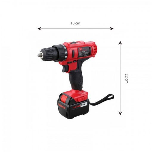 12 Piece  Rechargeable Cordless Electric Hammer Drill - Red