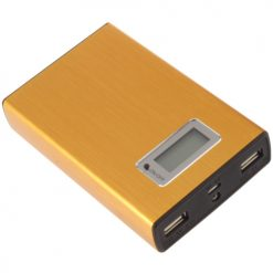12000 mah Power Bank With 2 USB Port and LED Flash Light – Gold