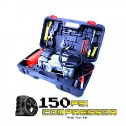 12 Volts 150 PSI  Air Compressor Tire Inflator Pump With Built In Flashlight - Black