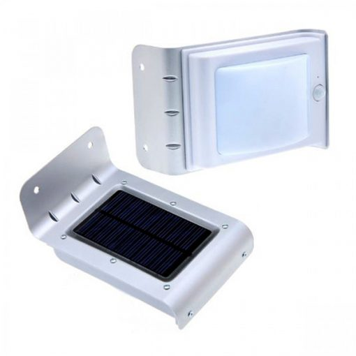 16 LED Solar Powered Waterproof Light With Motion Detector - Silver