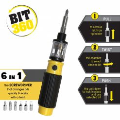 Bit 360  Deluxe All In One Multifunction Screwdriver Hand Tools - Yellow