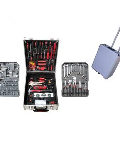 187 Pieces Craft Hand Tools in Aluminum Trolley Case - Black/Red
