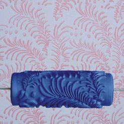 15cm Patterned Paint Roller Flower Leaves 015Y - Blue