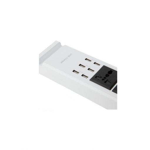 2 220v 6 USB Port Outlet - White