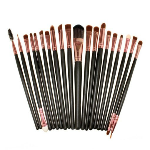 20 Pieces Cosmetic Brush Set - Black/Pink