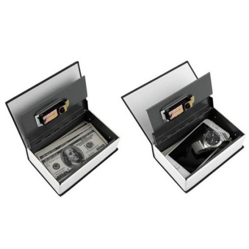 21cm Hidden Stainless Steel Compartment Book Safe - Black