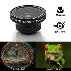 2 in 1 Camera Clip On Lens Kit Fish Eye Lens 0.31x + Macro 5x - Black