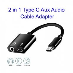 2 in 1 Type-C Aux Audio and Charger Splitter - Black