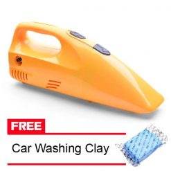 2 in 1 12V Vacuum Cleaner with 250 PSI Tire Inflator Compressor With FREE Car Washing Clay - Yellow