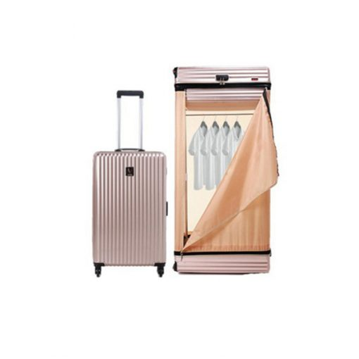 Multifunction 26 Inches Luggage Trolley Cabinet With Swivel Castors - Gold