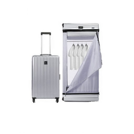 Multifunction 26 Inches Luggage Trolley Cabinet With Swivel Castors - Silver