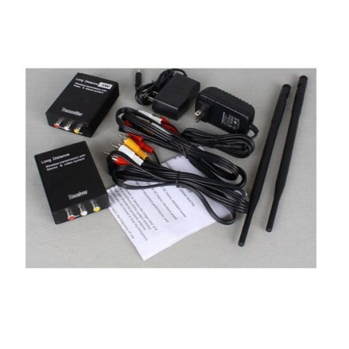 2 Watts High Power Wireless RCA Video Audio Signal Transmitter And Receiver - Black