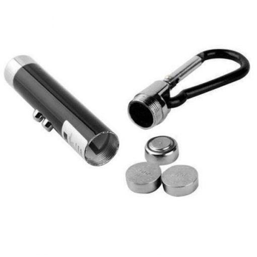 3 in 1 Led Flashlight Torch Keychain Red Laser Pointer - Black