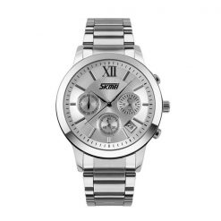 30M Waterproof Quartz Stainless Steel Watch - Silver