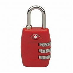3 Digit Combination Travel Padlock - Red