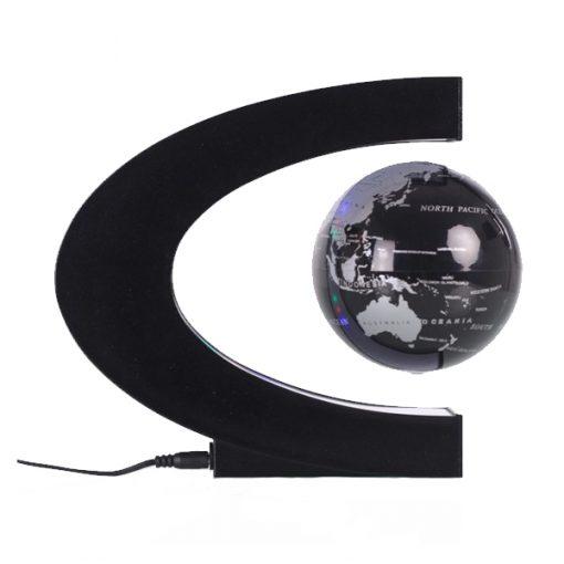 3 Inch C Shape Electronic Magnetic Levitation Floating Globe World Map with LED Lights - Black