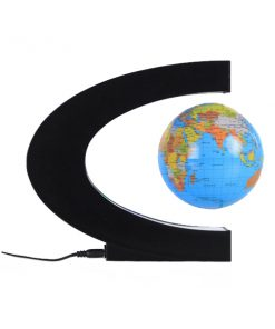 3 Inch C Shape Electronic Magnetic Levitation Floating Globe World Map with LED Lights - Blue
