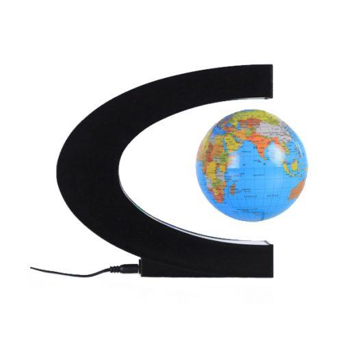 3 Inch C Shape Electronic Magnetic Levitation Floating Globe World Map with LED Lights - Blue