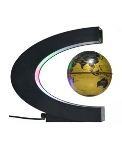 3 Inch C Shape Electronic Magnetic Levitation Floating Globe World Map with LED Lights - Gold