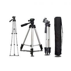 3 Way Head Portable Tripod Stand With Carrying Bag - Black
