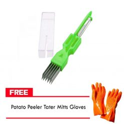 3 in 1 Onion Vegetable Cutter Slicer Peeler And FREE Potato Peeler Tater Mitts Gloves
